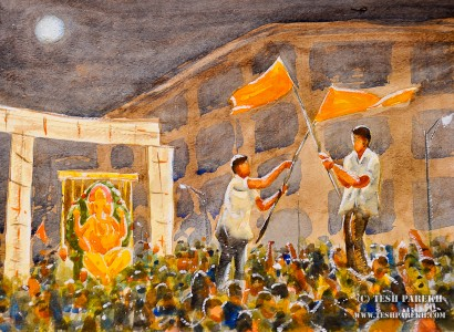 """""""The Lord Ganesha Immersion Night"""". 9x12. Watercolor on paper. By Tesh Parekh"""