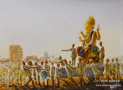 """The Lord Ganesha Immersion Procession"". 9x12. Watercolor on paper. By Tesh Parekh"