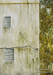 """Weathered Mumbai Wall"". 12x9. Watercolor on paper. By Tesh Parekh"