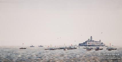 Apollo Bunder, Mumbai. 11x21. Watercolor on paper. Artist - Tesh Parekh
