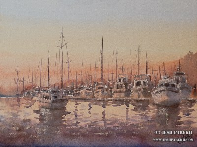 """Marina- New Bern"". 12x16. Watercolor on paper. Artist - Tesh Parekh"