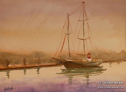 """Dusk- New Bern"". 9x12. Watercolor on paper. Artist - Tesh Parekh"