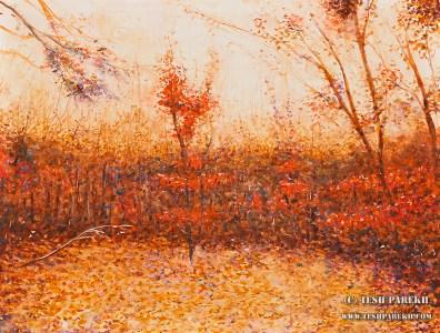 """Autumn Dusk at Durant Park"". 12x16. Watercolor on paper."