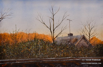 House by the railroad. 14x21. Watercolor on paper. Artist - Tesh Parekh