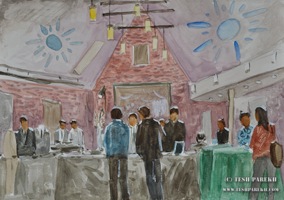 Invisible Groom. Live event sketch in Watercolor. Artist - Tesh Parekh