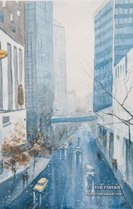 Charlotte snow. Watercolor painting on paper.