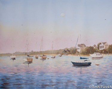 Early Morning, Wrightsville Beach. Plein air. Watercolor painting on paper.