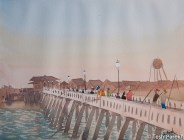 Fishing at the Pier, Wrightsville Beach. Plein air. Watercolor painting on paper.