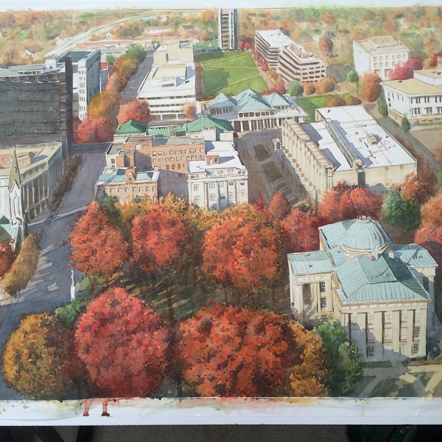 Raleigh Autumn. Watercolor on paper. Work-in-progress. 22x30.