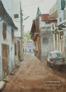Amreli Street. Watercolor painting on paper. Dusty street of Amreli. Still looks the way I remember it.
