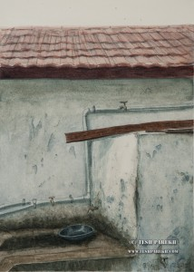 Five Dry Taps. Watercolor painting on paper. This was the bath in my childhood home. Those taps were always dry.