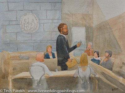 Courtroom painting. Watercolor commission on paper.