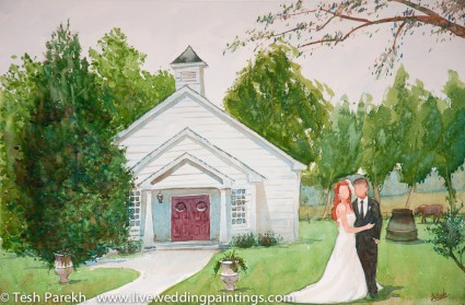 Wedding Painting at the Hudson Manor. Watercolor on paper.