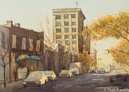 Hargett Street Evening. Plein Air Watercolor painting on paper.