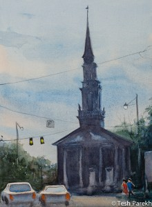 Hayes Barton Evening. Watercolor painting on paper.