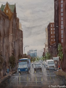 Salisbury Street. Watercolor painting on paper.