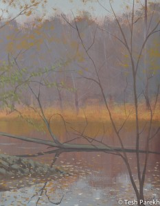 Autumn dusk at Lower lake. Gouache painting on paper.