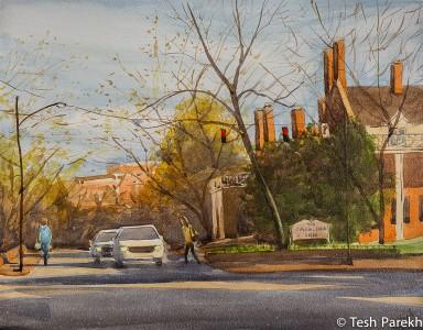 Carolina Inn Evening. 11x14. Watercolor painting on Aquabord.