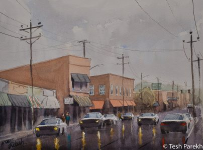 """Wet Day in Kinston"". 2nd place winner in 2016 Kinston annual plein air paint out. 12x16. Watercolor on paper. Original sold. Prints available. Kinston NC paintings."