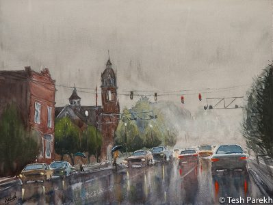 """Rainy Day in Kinston"". First place winner in 2015 annual Kinston plein air paint out. Original sold- prints available. 2016 official poster of the Kinston BBQ festival. Kinston NC Paintings"