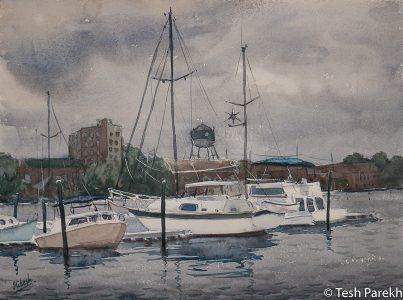"Elizabeth City paintings. ""Storm over Elizabeth City"". Watercolor on paper. Original sold- prints available."