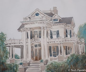 "Elizabeth City Paintings. ""White House"". Watercolor on paper."