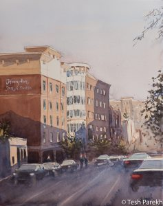"Raleigh Art - ""Glenwood South Evening"". Watercolor on paper. Original sold- prints available."