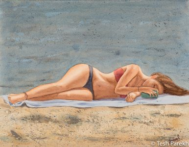 """Figurative paintings. """"Sun Texter"""". 11x14. Watercolor on paper. Available."""