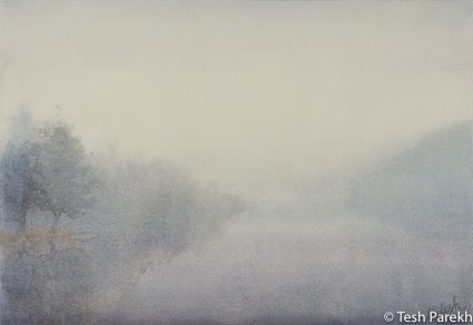 """Lower Lake Mist"". Misty Landscape painting. Watercolor painting on paper. 13x19."