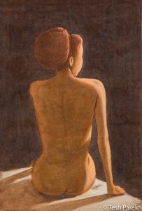 "Figurative paintings. ""Nude"". 21x14. Watercolor on paper. Available."