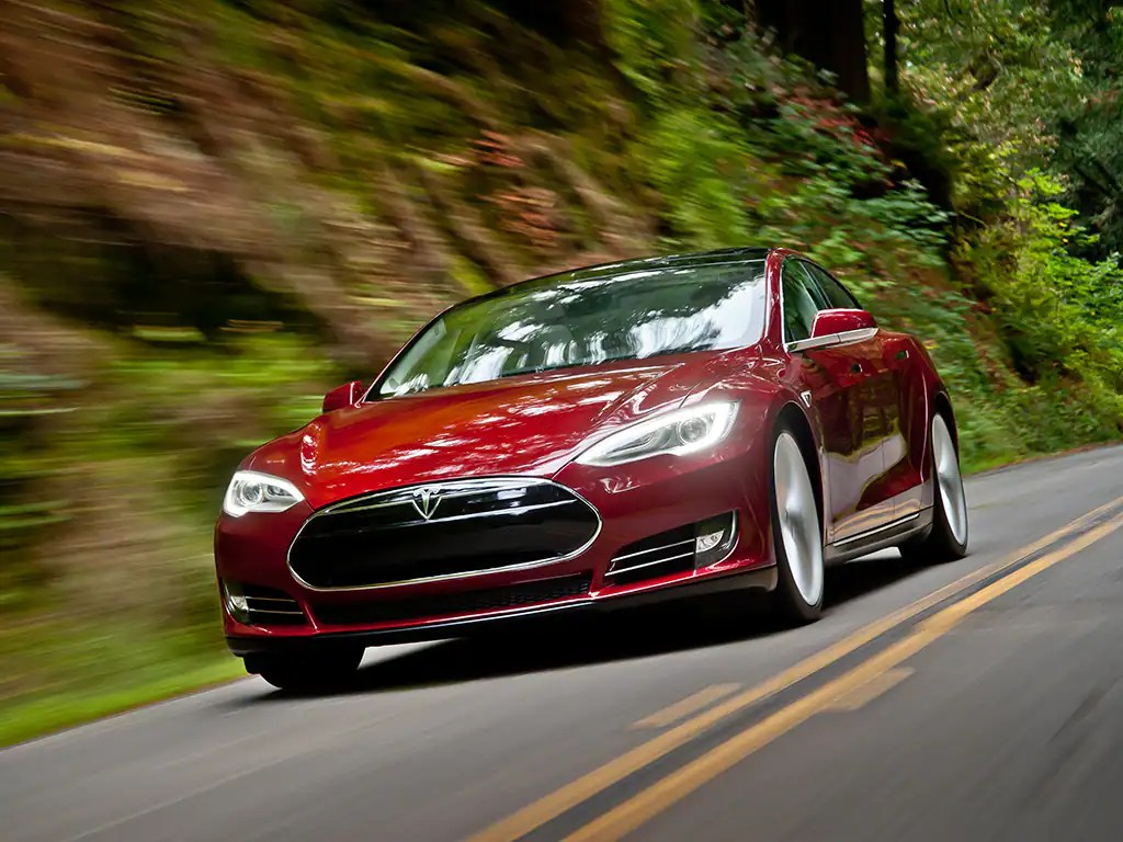 a Tesla Model S electric car