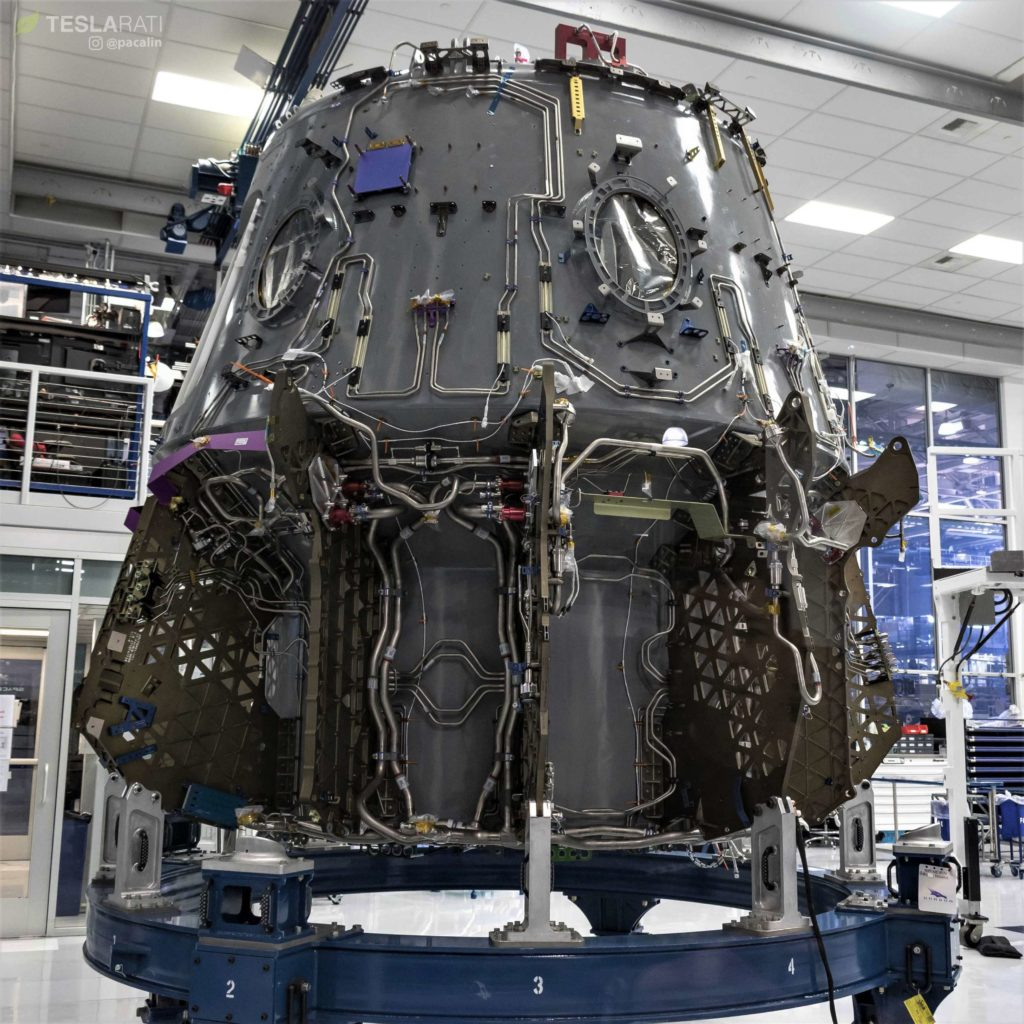The first truly crewed Crew Dragon is seen here in the late stages of assembly at SpaceX's Hawthorne factory, August 13. (Pauline Acalin)