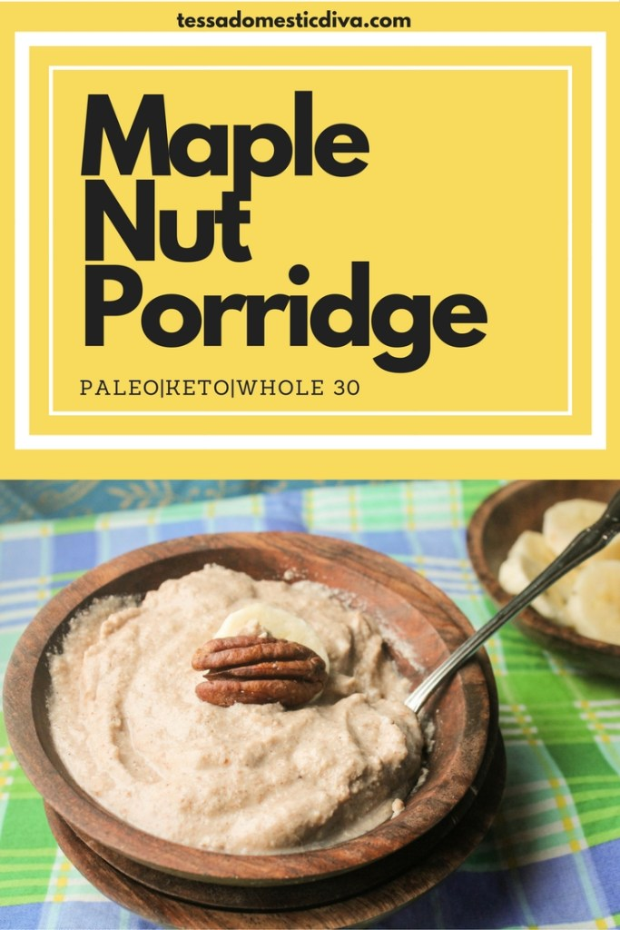 optimized for pinterest wooden bowl of maple nut porridge with banana