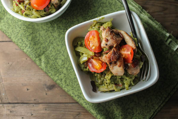 Paleo Pesto Spaghetti Squash w- Crsipy Chicken & Bacon-8314