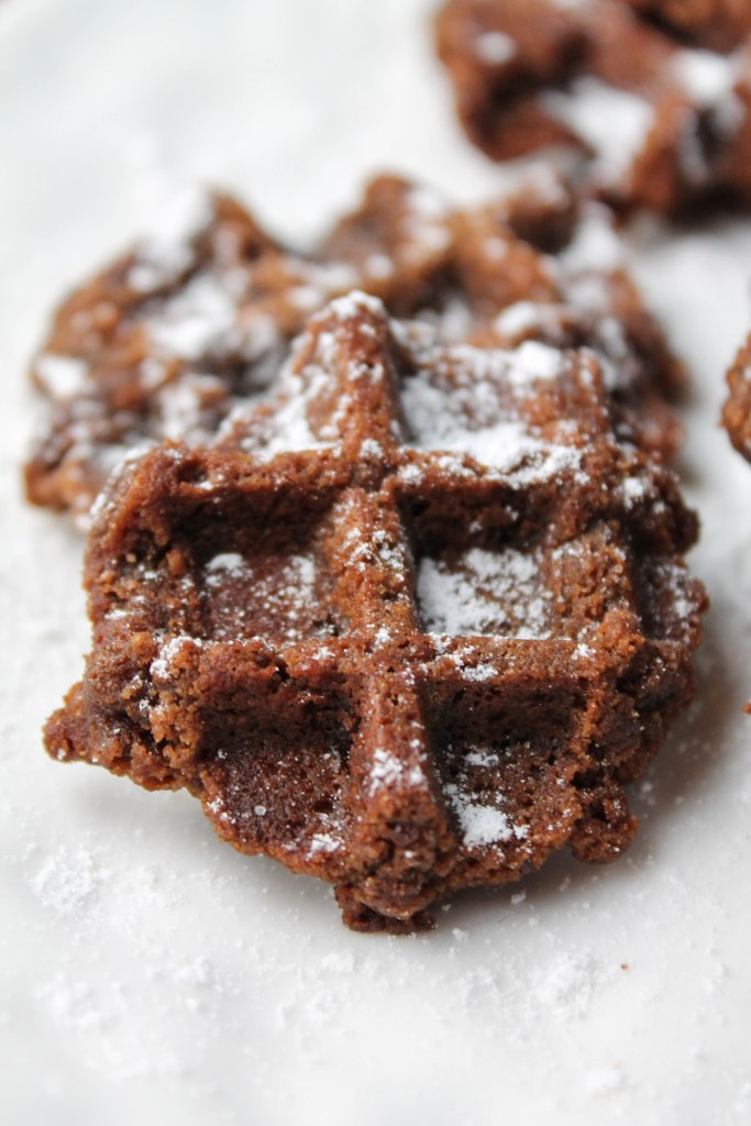 vertical image close up of a waffle printed chocolate cookie with a dusting of powdered tapioca on a white plate