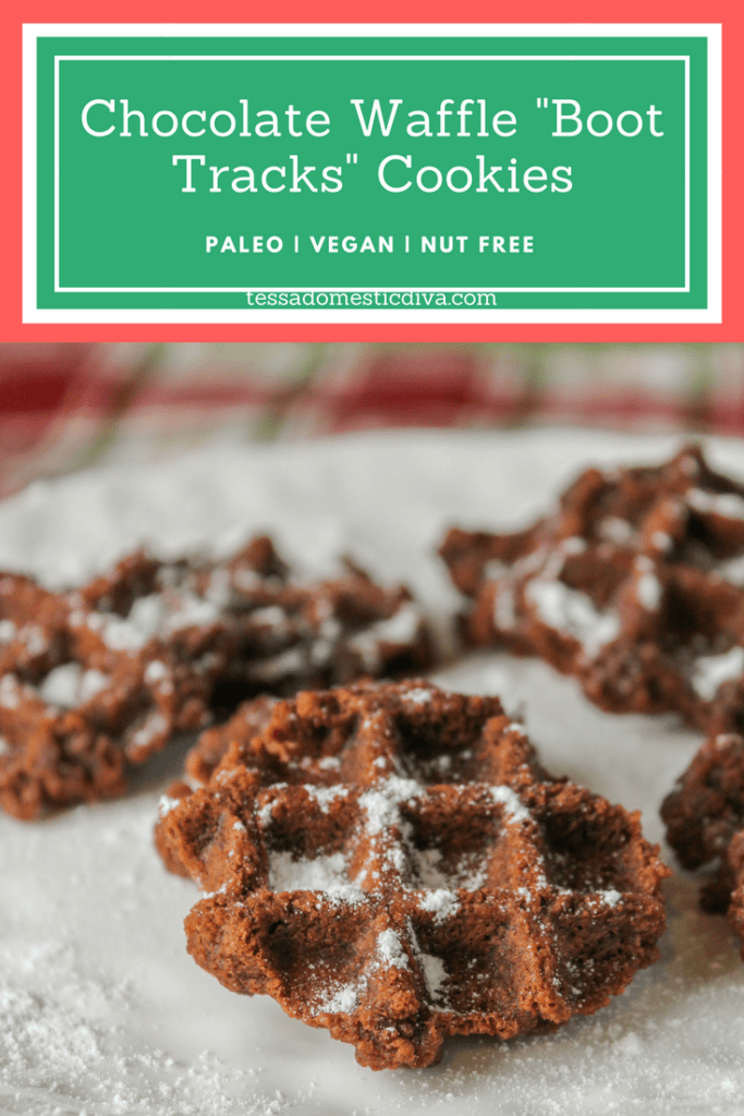 pinterest ready vertical image with text overlay of waffle chocolate cookies on a white plate
