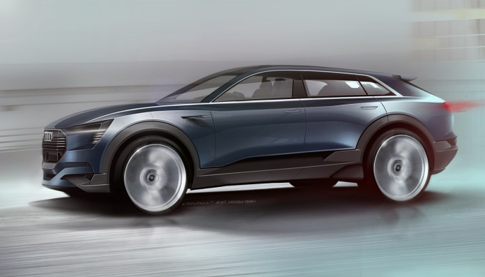 The Audi e tron quattro concept is designed from the ground up as an electric car and proves to be pioneering in its segment at the very first glance.