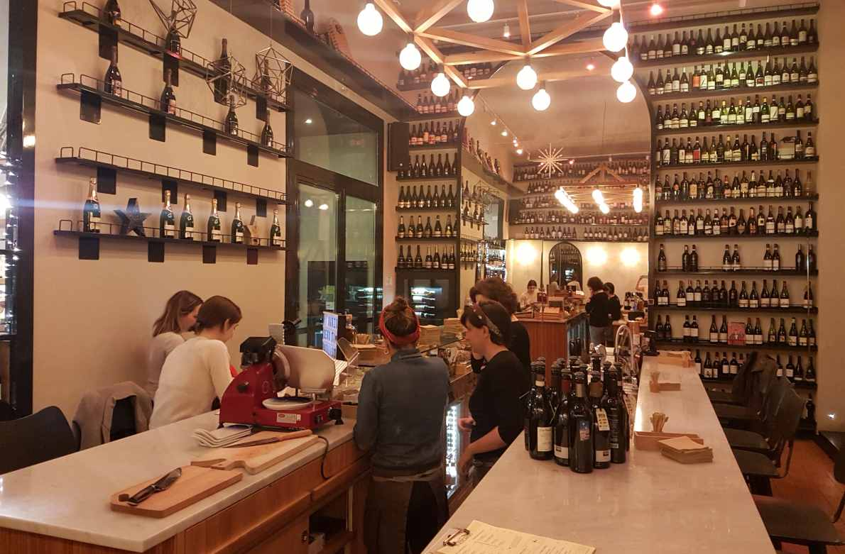 Brylla is a brilliant wine bar in Rome serving comfort wines and comfort food on a huge wraparound bar in a refined Roman neighbourhood