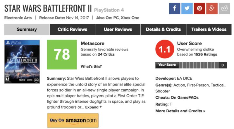 battlefront 2 metacritic