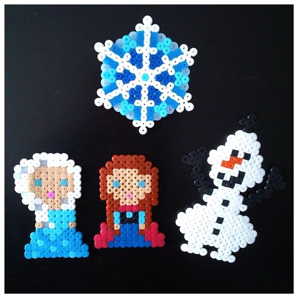 Personnages Reine des neiges frozen Olaf, Anna et Elsa en perles à repasser