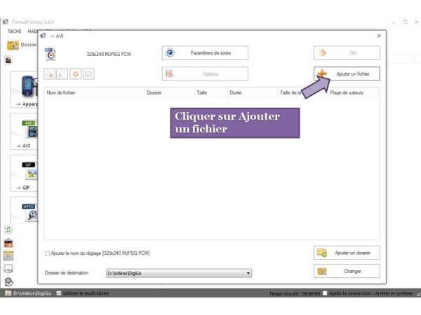 Comment convertir une vidéo pour DigiGo 2