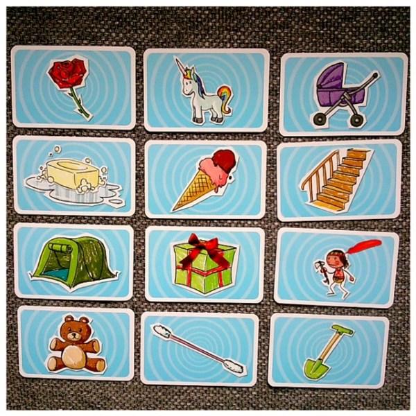 Quleques exemples de cartes du jeu Time's Up kids