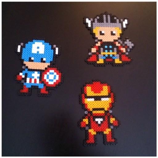 Thor Captain America Et Iron Man En Perles à Repasser