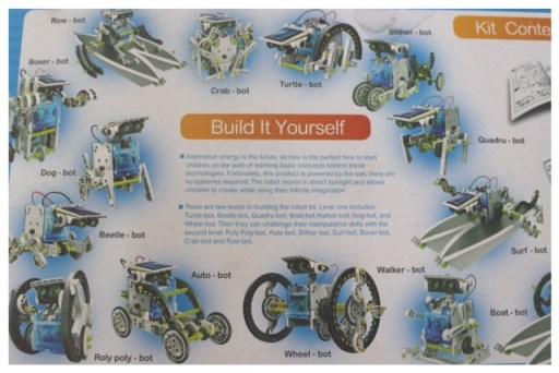 les 14 modèles possibles avec ce robot solaire