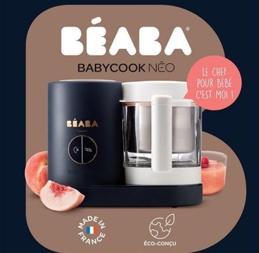 Le robot cuiseur mixeur babycook néo de Béaba avec sa cuve et inox et son bol en verre