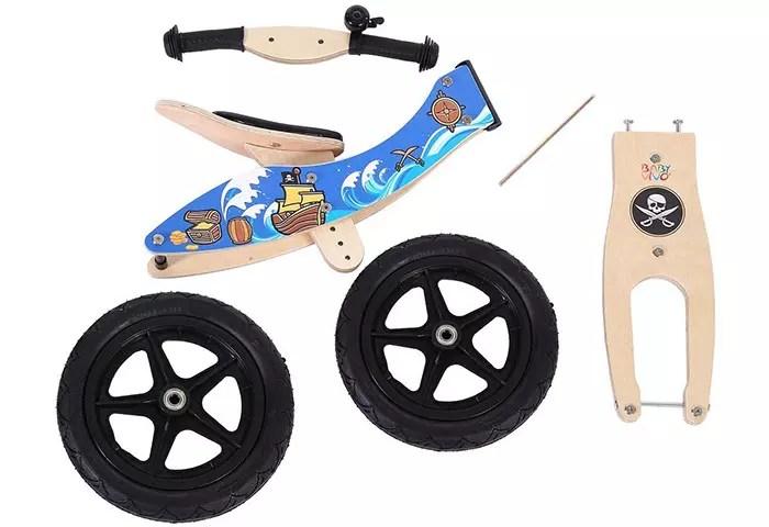 Bicicleta de equilibrio Baby Vivo Wooden sin pedales para bicicleta DE 30.5 cm con campana - Jack