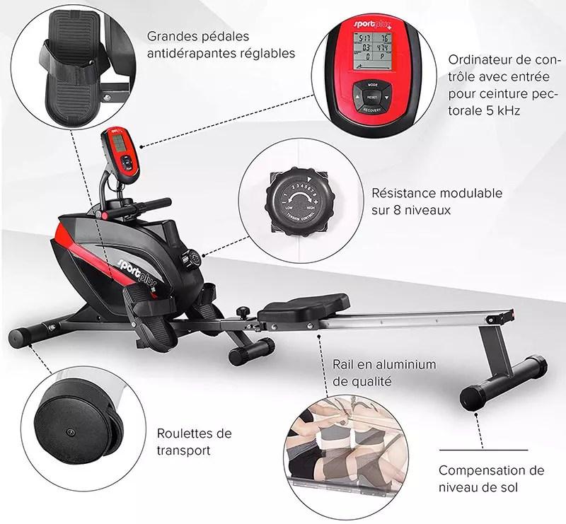 SportPlus - Rower - Sistema de frenado magnético - Plegable y silencioso