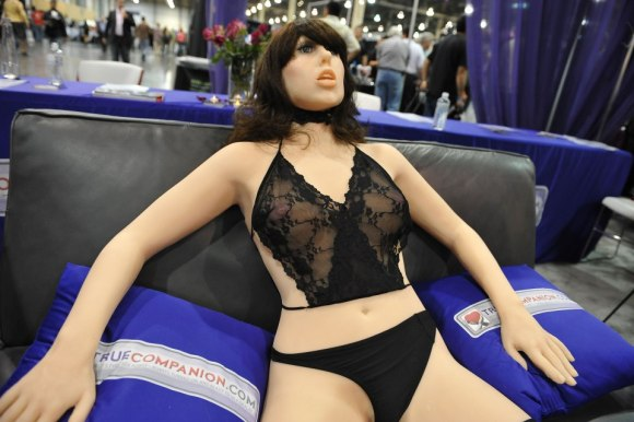 "The ""True Companion"" sex robot, Roxxxy, on display at the TrueCompanion.com booth at the AVN Adult Entertainment Expo in Las Vegas, Nevada, January 9, 2010. In what is billed as a world first, a life-size robotic girlfriend complete with artificial intelligence and flesh-like synthetic skin was introduced to adoring fans at the AVN Adult Entertainment Expo. AFP PHOTO / Robyn Beck (Photo credit should read ROBYN BECK/AFP/Getty Images)"