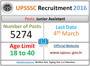 UPSSSC Junior Assistant Admit Card 2016