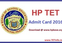 HP TET Admit Card 2016